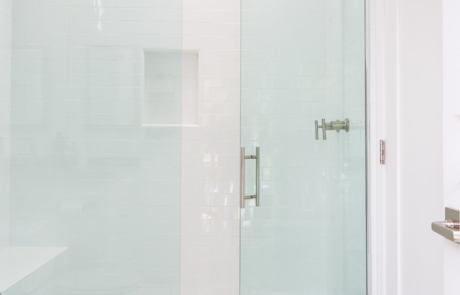 white subway, frameless glass shower